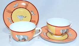 HERMES Africa Orange Porcelain Cup and Saucer Set of 2 coffee Dinnerware... - $365.31
