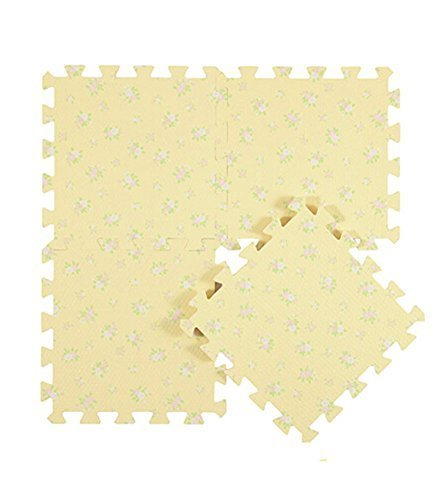 Interlocking Foam Mats EVA Foam Floor Mats (Denticle & 9 Tiles) Yellow Flowers
