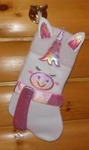 """White & Iridescent Pink Unicorn Plush Decorative 16"""" Holiday Stocking - $6.49"""