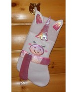 "White & Iridescent Pink Unicorn Plush Decorative 16"" Holiday Stocking - $6.49"