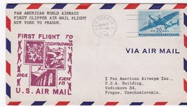 FIRST FLIGHT NEW YORK, NY - PRAGUE FAM 18 FIRST CLIPPER PAN AMERICAN - $5.39