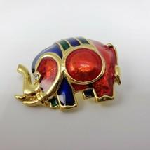 Gold Tone Elephant Pin Brooch Enamel Rhinestone Eye Republican Blue Red ... - $15.00