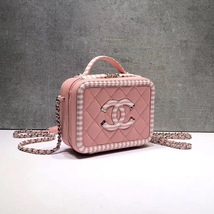 NEW AUTH CHANEL 2019 PINK CAVIAR FILIGREE CC SMALL VANITY CASE BAG RARE