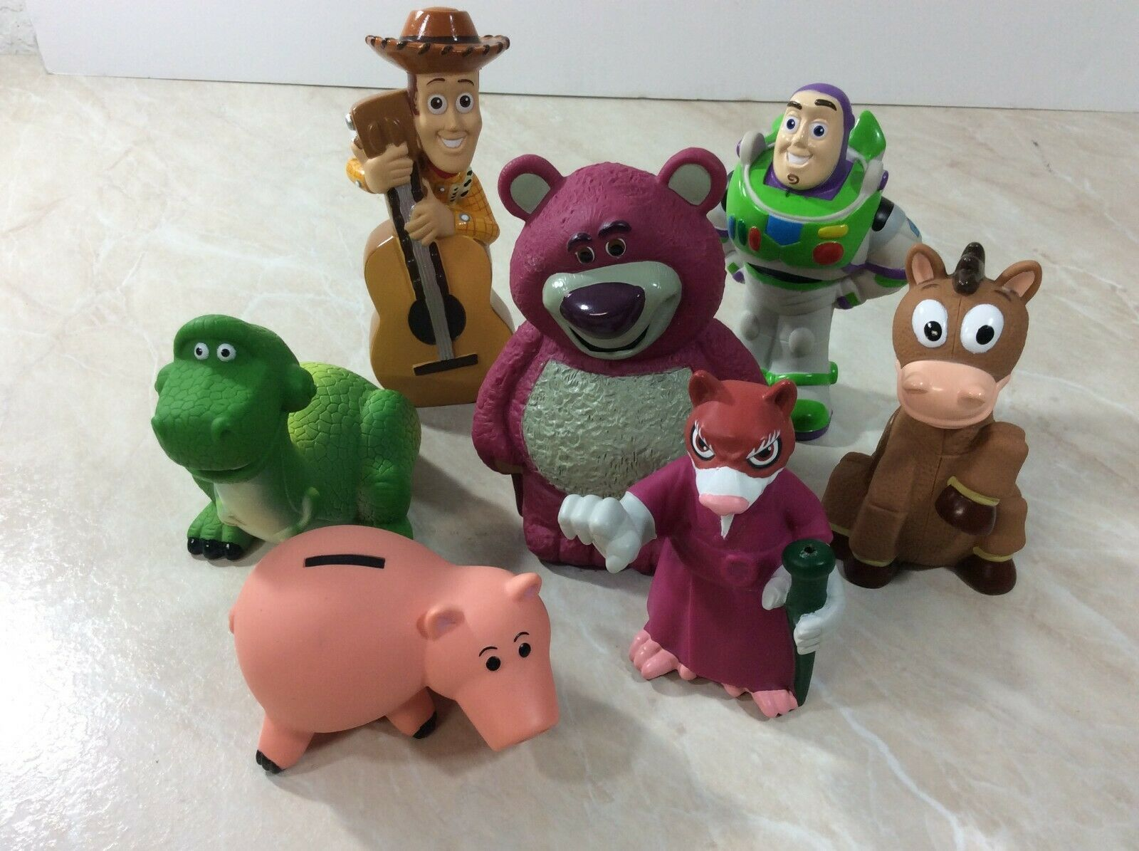 Disney Toy Story Figures with Carrying Bag 2014 Pixar Woody Buzz Hamm Lot of 7 image 2