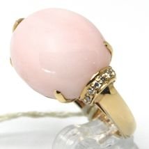 SOLID 18K ROSE GOLD RING, BIG CABOCHON OVAL PINK OPAL, DIAMONDS 0.23 CARATS image 5