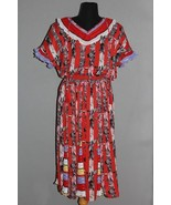 VTG JOI LEE Red Blk Whi Ruffle Pleated Sleeves Neck Gypsy Boho Dress Ws ... - $49.99