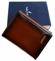 Nautica Men's Leather Credit Card Passcase Wallet Trifold Tan 31NU11X017 image 7