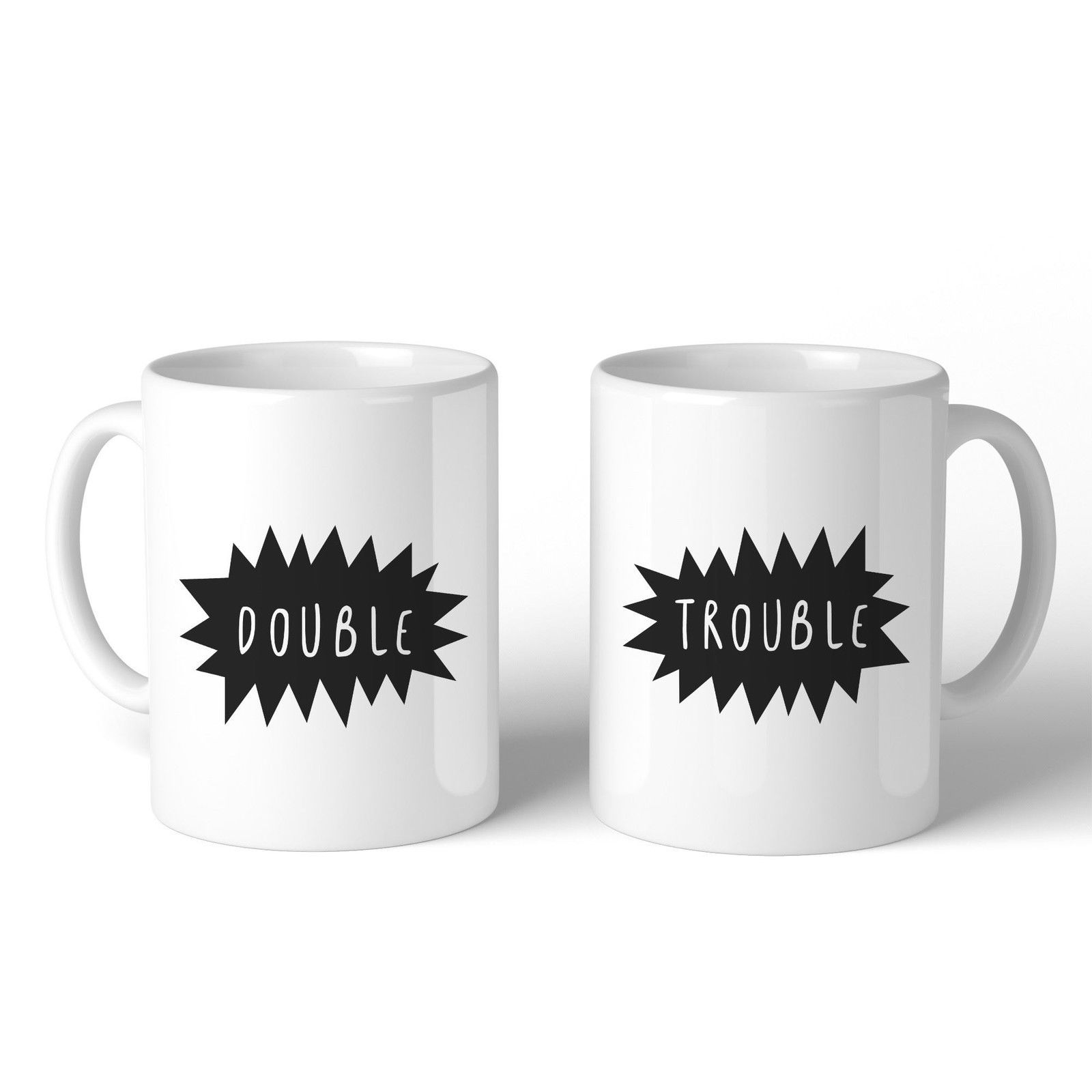 Double Trouble BFF Matching White Mugs