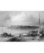 CANADA Navy Island above Niagara Falls - 1840s Engraving Print by BARTLETT - $16.83
