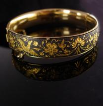 Victorian mourning Bird  Bracelet - doves in Gold - hinged Vintage Bangl... - $275.00