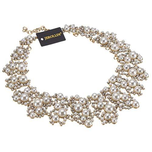 Jerollin Crystal/Pearl Statement Necklace, Vintage Chain Choker Collare (Pearl)