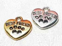 DOGS BEST FRIEND HEART PAW PRINT FINE PEWTER PENDANT CHARM 15mmL x 15mmW x 3mmD image 1