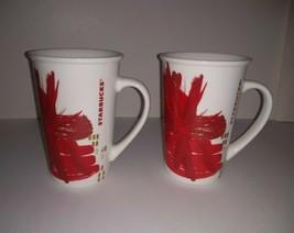 Lot of 2 2014 Starbucks White Red Burst Gold Accent 12 oz Coffee Mug - $21.77