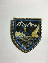 "Vintage Skiing  Brooch Lapel  Pin Pendant 2.5"" X2"" Embroidered Fabric Go... - $13.61"