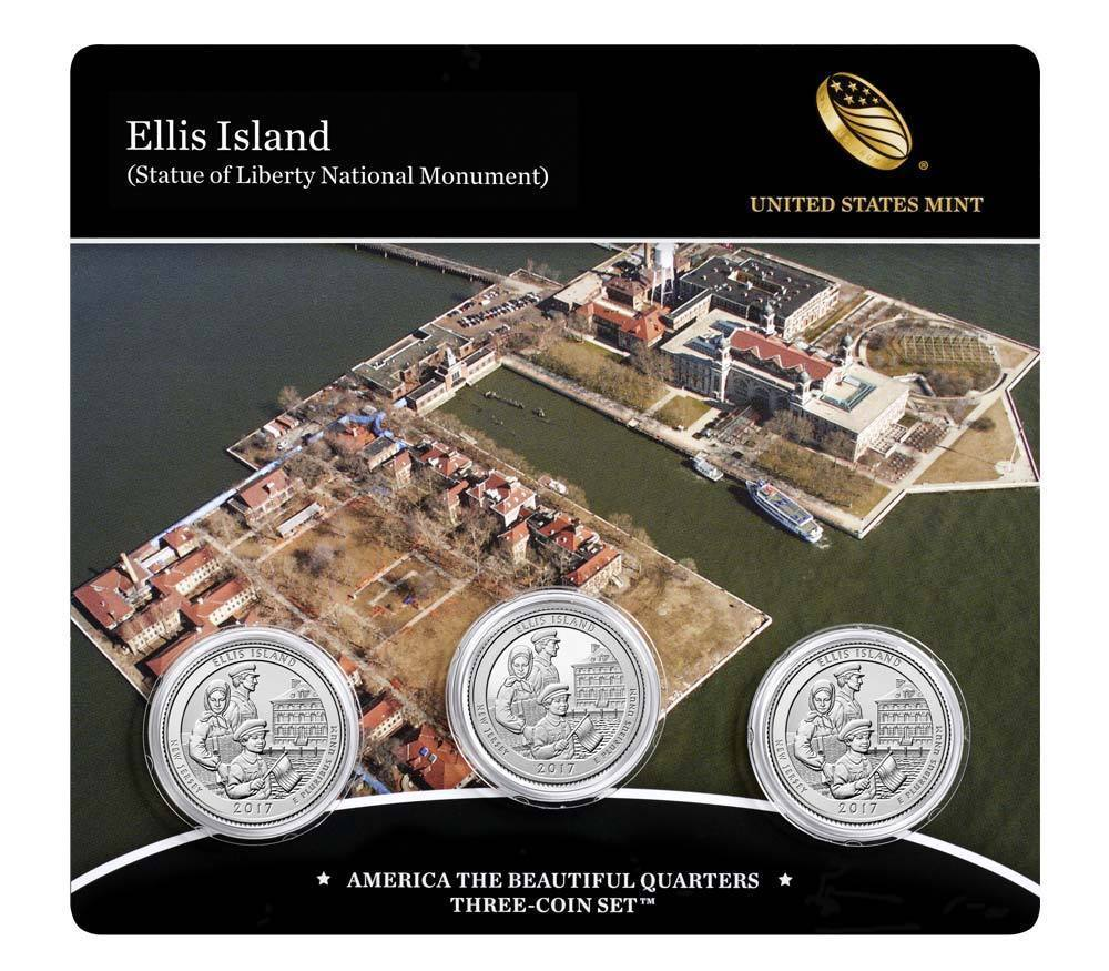 2017 P D & Proof S US Mint America The Beautiful Ellis Island Sealed 3 Coin Set
