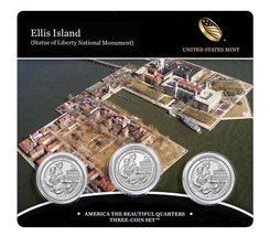 2017 P D & S US Mint America The Beautiful Ellis Island Sealed 3 Coin Se... - $39.95