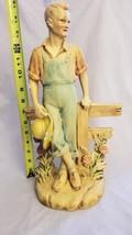 JW Lindner vintage chalkware figure country boy farmer 1942 15in - $14.80