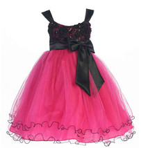 Stunning Girl's Chic Fuchsia/Black Flower Girl Pageant Party Dress, USA - $42.99