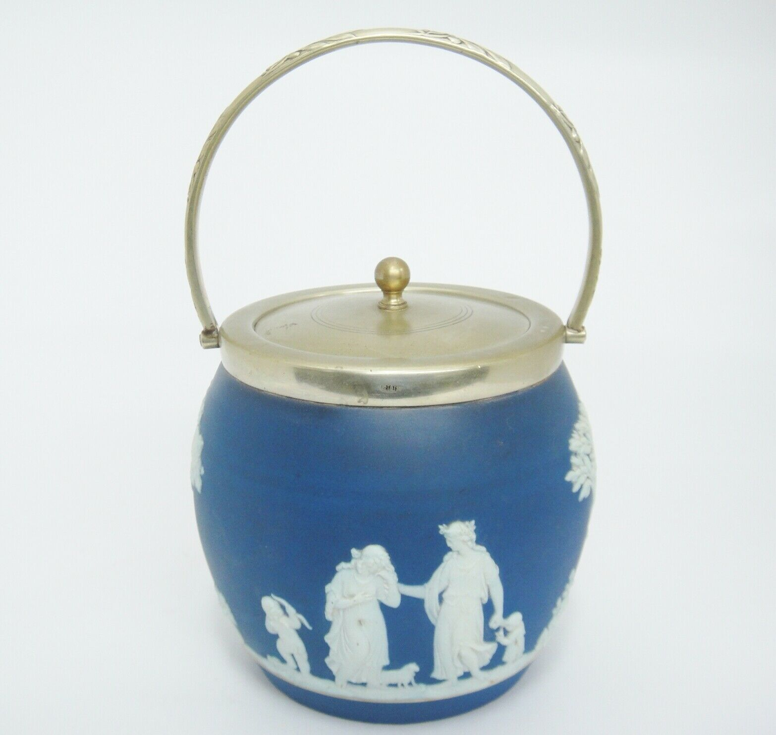 "Antique Blue Dip Jasperware Biscuit Jar Barrel w EPNS Lid and Handle England 5"" - $148.49"