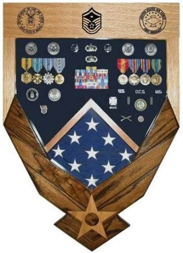 Primary image for AIR FORCE LOGO LASER TOP MAHOGANY MILITARY AWARD SHADOW BOX MEDAL DISPLAY CASE