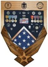 Air Force Logo Laser Top Mahogany Military Award Shadow Box Medal Display Case - $360.99