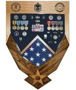 AIR FORCE LOGO LASER TOP MAHOGANY MILITARY AWARD SHADOW BOX MEDAL DISPLA... - $360.99