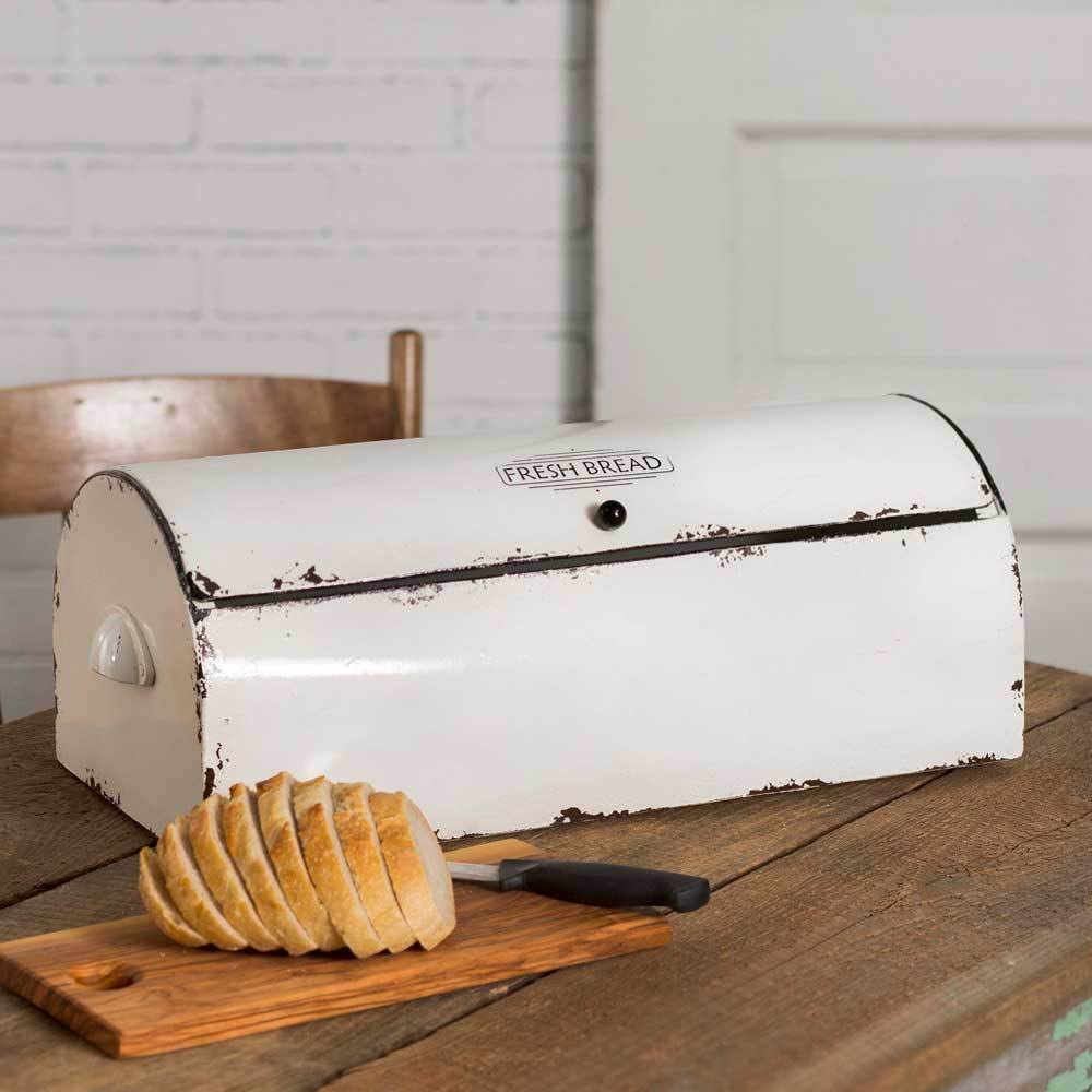"Vintage Style Distressed Metal Bread Box 19"" Country Kitchen Decor"