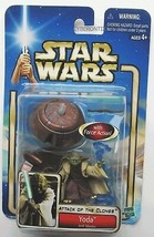 Star Wars YODA Action Figure 2002 Spinning Jedi Attack of the Clones Hasbro - $8.81