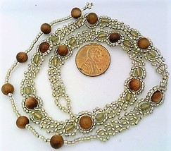 Brown Gold Stone Beaded Daisy Chain Necklace - $16.99