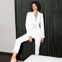 New Designer Fashion Turn-down Collar Hollow Out Blazer With Belt  Long Pant Sui image 3