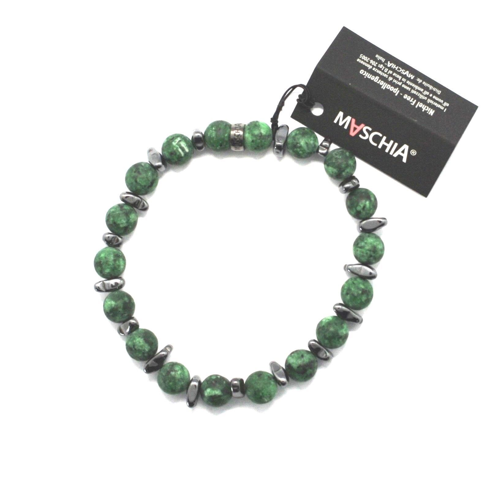 SILVER 925 BRACELET WITH HEMATITE AND JASPER BWI-1 MADE IN ITALY BY MASCHIA