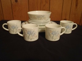 RARE 16 Piece Vintage England Pyrex Blue Iris Plates Bowl Cups - $93.49