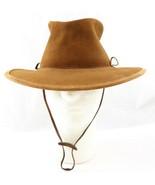 BC Australian Brown Leather Bush Walker Hat Hand Made Medium Steer Hide - $24.99