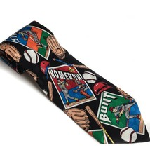 Baseball Silk Tie Home Runs Strikes Bunts Necktie - $7.99