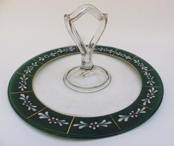 Beautiful Hand Painted Glass Torte Cookies Plate Handle Christmas - $27.72