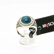 Silver Ring 925 Antique with Chrysocolla Turquoise Made in Italy by Maschia image 5