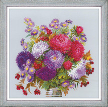 Cross Stitch Kit Hand Embroidery Flowers Bouquet with Asters - $39.00