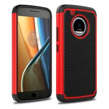 Red Hybrid Case for Motorola Moto E4 Plus - Hard Heavy Duty Cover USA & Fast! image 3