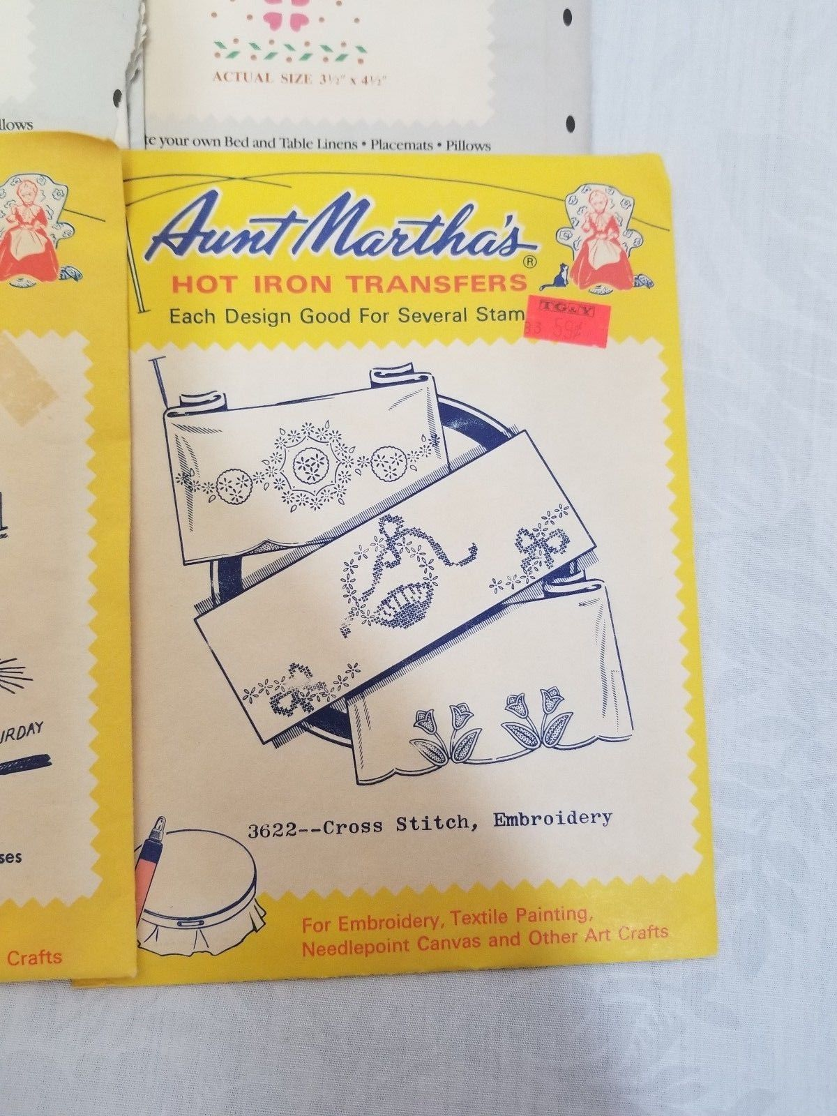 Aunt Martha's Hot Iron Transfers 3622 tulips baskets flower Embroidery Pattern
