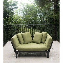 Outdoor Patio Couch Sofa Daybed Adjustable Cushioned Sage Green Wood Fur... - $502.62