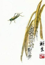 Grasshopper 15x22 Chinese Print by Ch'i Pai-shih Asian Art   - $39.59