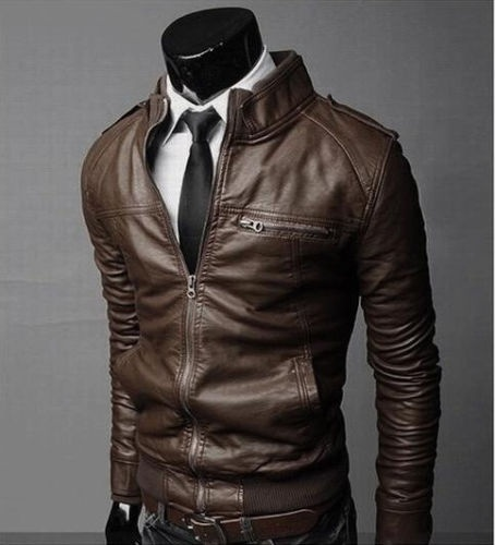 New Fashion Men's jackets Slim collar motorcycle leather jacket coats #lcmq