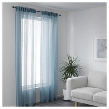 GJERTRUD Sheer curtains, 1 pair, grey-blue image 1