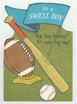 Vintage Birthday Card Baseball Football To A Swell Boy 1960's Ambassador... - $8.90