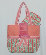 NGIL GUA2121 Quilted Pink Striped Vine Print Coral Green Diaper Bag - £24.57 GBP