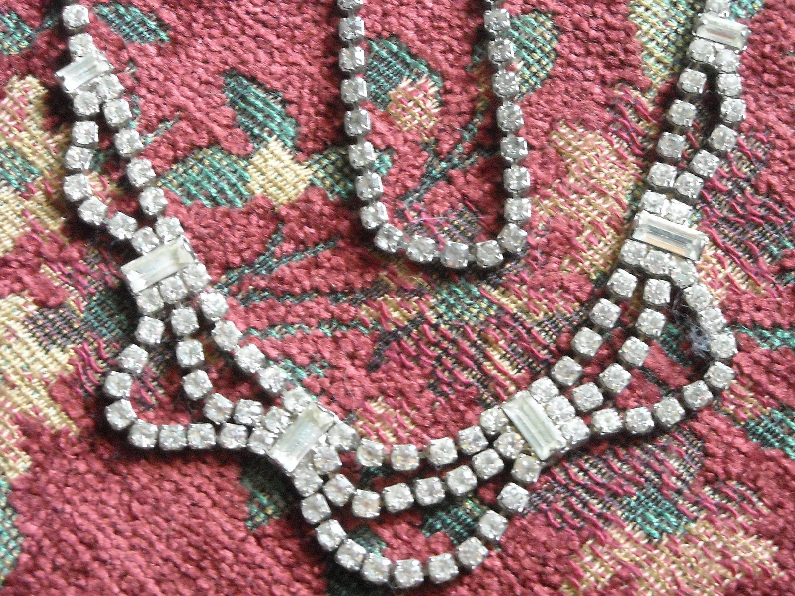 Vintage Two Necklaces Post Earrings Silver Tone Clear Rhinestone Sparkles Galore