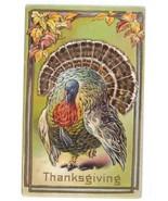 Thanksgiving Tom Turkey Postcard Embossed Frame with Autumn Leaves Vinta... - $4.99
