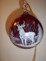 Fenton Glass Red Deer Buck Blown Christmas Ornament NFGS 2017 Susan Bryan - $183.82