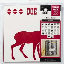Plaid Folkart Die Cut Paper, Woodland Stencil Value Pack, 12 X 12 Inches - $21.10