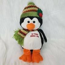 "13"" Goffa Christmas Penguin Let Heaven & Nature Sing Soft Plush Stuffed ... - $19.97"